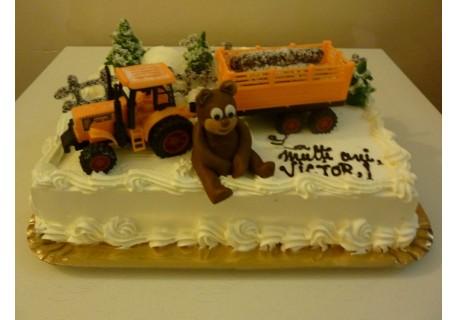 Tort de Craciun - urs cu tractor